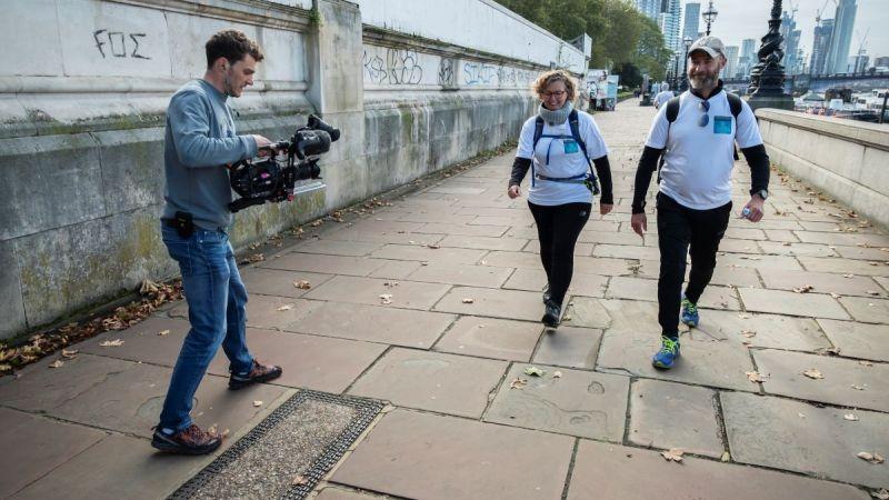 Lynn and fellow walker Mark Hodgson reach the London Eye.jpg